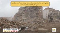 Van Depremi'nde yıkılan bina enkazında ölen her bir Kişi için Sanıklar 46 bin 800 TL ödeyecek!